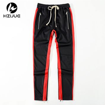 Men Side stripe bottom zipper drawstring sweatpants high streetwear jogger elastic waist track pants for men