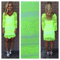 Lace Cover Up Dress - NEON YELLOW