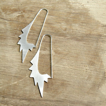 Big Star Oval Hoops - handmade solid sterling silver, geometric, gipsy, punk earrings, made in Italy