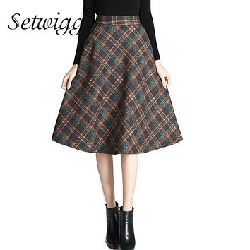 SETWIGG Korean Winter Wool Plaid A-line Midi Skirt High Waisted Zipper Pockets Elegant Check Flared Below Knee Skirts SG6122