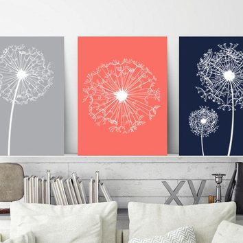 DANDELION Wall Art, Coral Navy Gray Bedroom Wall Decor, CANVAS or Prints, Coral Navy Bathroom Decor, Flower Wall Art, Dandelion Art Set of 3