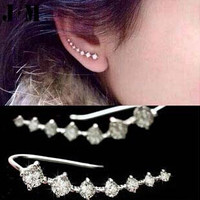 2pcs/pair New Punk Vintage Rhinestone ear cuff wrap Crystal Clip Earrings Silver ear cartilage Women Party statement  jewelry