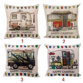 Stylish Happy Campers Pillow Case Sofa Waist Throw Cushion Cover Home Decor (Size: 45cm*45cm) [8833926668]