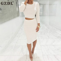 GZDL Women Spring Autumn Knitted Long Sleeve Crop Top High Waist Bodycon Pencil Mini Dress Club Party Skirt Set 2 Pieces CL2999