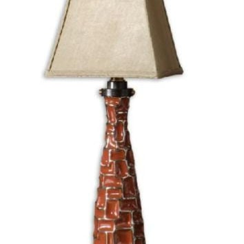 Buffet Table Lamp - Ceramic Body With Bronze Accents, Red Glaze And Distressed Effect