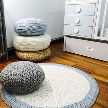 Crochet Floor Cushion-Meditation Floor Pillow-Stuffed Pouf-Nursery Decor-Kids Floor Pouf Ottoman-Knit Floor Cushion-Flat Floor Pillow-Pouffe