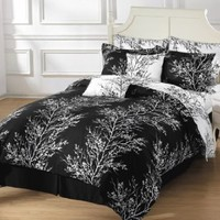 Chezmoi Collection 8-Piece Soft Microfiber Reversible Black White Tree Branches Bed in a Bag Comforter with Sheet Set, Queen
