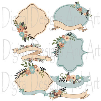 Rustic flowers clipart, Rustic wedding clipart, Flower digital clip art, Rustic label, Rustic ribbons, Invitation Label Tags, Brown, Blue