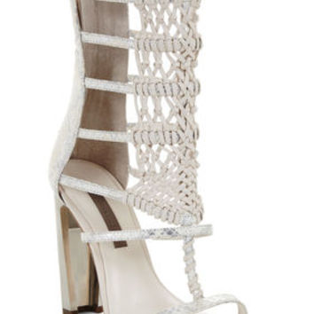 BCBG Post High-Heel Macrame Day Sandal
