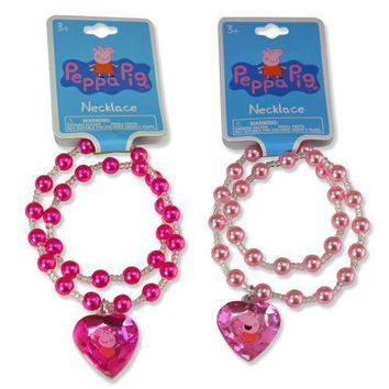 "Party Favors Peppa Pig 16"" Pearl Necklace with 1.5"" 3D Gem-2 Pack"