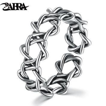 WEAVING HOLLOW BEAUTIFUL WOMEN SMALL RING REAL SOLID SILVER