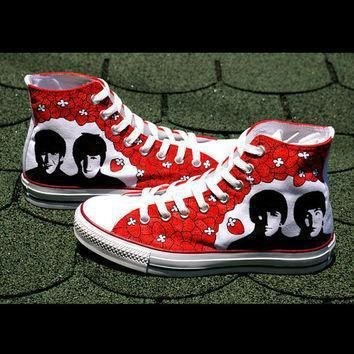 sale beatles converse shoes hand painted by baconfactory on etsy