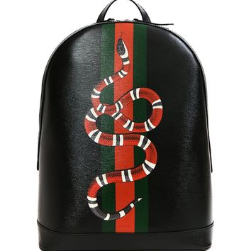 Wiberlux Gucci Men's Snake Print Real Leather Backpack