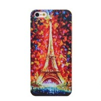 Unique Oil Painting Eiffel Tower Relief Hard Cover Case for Iphone 5
