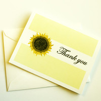 Set of 6 Sunflower Thank You Cards Thank You Notes