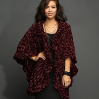 Sale- Burgundy Faux Fur Cape