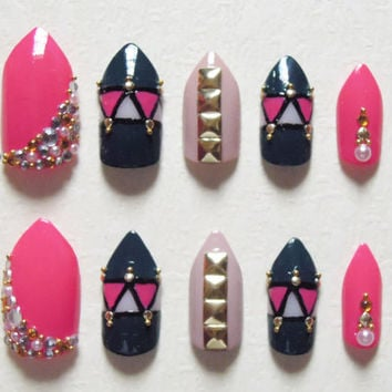 Pink, Dark Teal and Nude Stiletto Fake Nails with Rhinestones, Gold studs and Beads Bling Nail Set