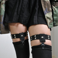 Studded Knee-High Sock Thigh Garters