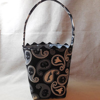 Adorable Halloween Paisley Fabric Basket With Handle