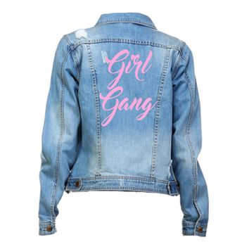 Girl Gang Distressed Pink Font Mid Wash Denim Jacket