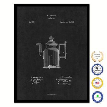 1869 Coffee Pot Vintage Patent Artwork Black Framed Canvas Home Office Decor Great for Coffee Lover Cafe Tea Shop