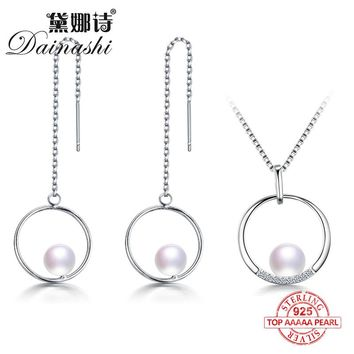 Dainashi classic round design noble popular style 925 original silver pearl jewelry sets with drop long earrings and pendants