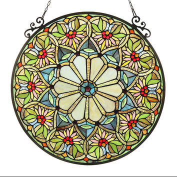 SUNNYTiffany-glass Floral Window Panel 23.5""