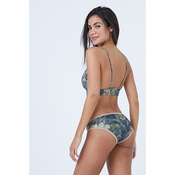 Knowles Full Bikini Bottom - Everglade Tan Floral Print