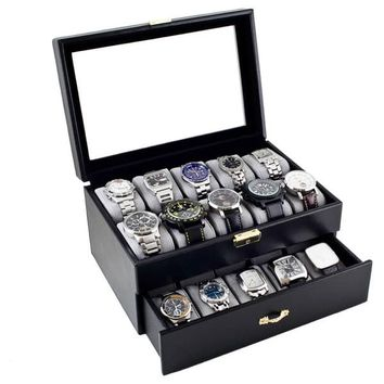 Caddy Bay Collection Black Leatherette 20 Watch Storage Case | Overstock.com Shopping - The Best Deals on Watch Boxes