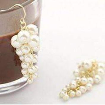 Champagne Pearl Cluster Earrings