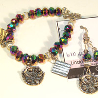 Passover Metallic Bracelet & Earrings Set