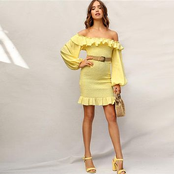 Boho Yellow Ruffle Off Shoulder Lantern Sleeve Smocked Party Dress Women Solid Strapless Shirred Bodycon Dresses