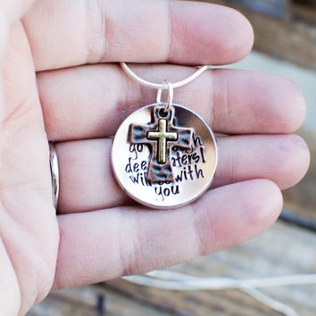 When you go through rough waters I will be with you bible verse necklace bible verse jewelry scripture jewelry Isaiah 43: 2-3 christian gift