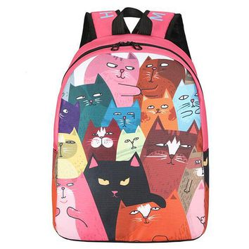 Cool Backpack school 1 piece Novelty oil paintting pattern Cute Creative Monalisa Mona lisa Cat Backpack large Cool Travel Schoolbag AT_52_3