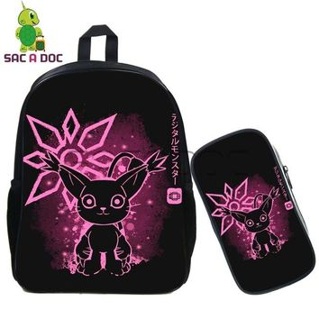 Anime Backpack School Cool kawaii cute Digimon Adventure Fluorescence Backpack 2 Pcs/set School Bags Tailmon Agumon Backpack for Teenagers Boys Daily Bags AT_60_4