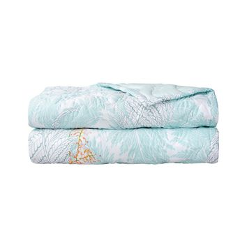 Sources Aqua Quilted Coverlet by Yves Delorme