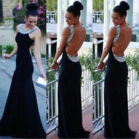 Women Fashion Elegant Lace Dress Cocktail Ball Gown Party Exposed Backless Dress [7654478214]