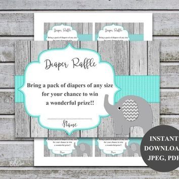 Diaper Raffle Ticket Cards | Printable Baby Shower Games | Diaper Raffle Insert for Neutral Baby Shower invitations | Instant Download (01w)