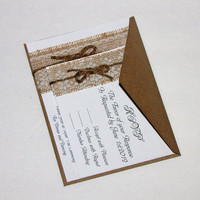 Handmade Rustic Lace and Burlap Wedding Invitation Suite