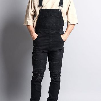 Men's Distressed Denim Overalls FR105 - O1E