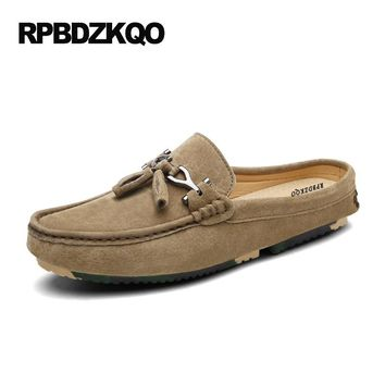 Tassel Soft Soled 2017 New Men Flats Mules British Style Shoes Tan Slip On Casual Loafers Half Brown Moccasins Slippers Spring