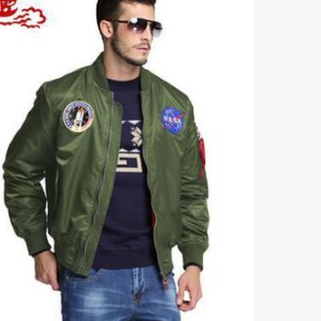Spring Autumn thin NASA Navy flying jacket man varsity american college bomber flight ma1 jacket for men