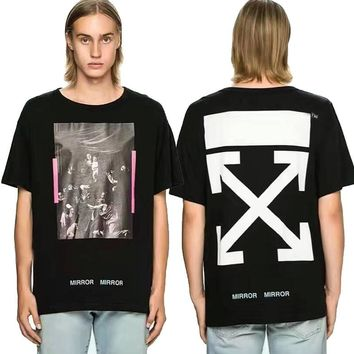 AUGUAU Off White Religious oil painting vintage printed short-sleeved T-shirt Black 013