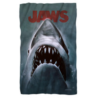 JAWS/SHARK-FLEECE BLANKET-WHITE-36x58