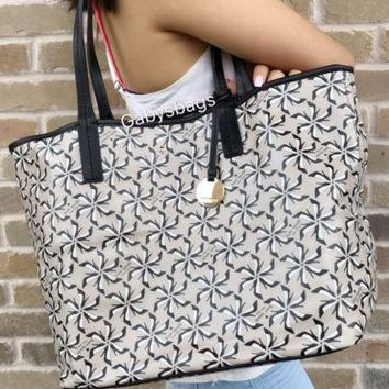 NWT Kate Spade New York Broome Pinwheel Court Tanner Tote Bag Crisplinen Taupe