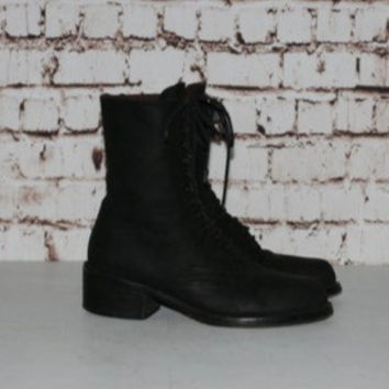 90s Guess Combat Boots Lace up Black Genuine Leather Nu Goth Grunge Hipster Festival Punk Minimalist Gothic Chunky Heel 6.5 6 4 37 Shoes