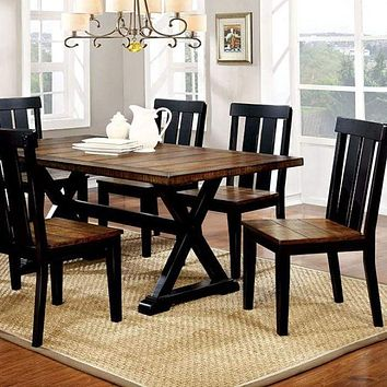 Alana Transitional Plank Style Dining Table, Antiqued Oak & Black Finish By Casagear Home