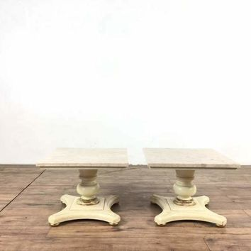Pair of Vintage Crown City Table Co. Buccola Brothers Travertine Top End Tables