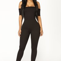 Forever Or Never Off Shoulder Jumpsuit - Black