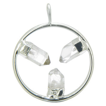 Brazilian Lucky Circle with Triple Rough Rock Quartz Crystal Point Pendant